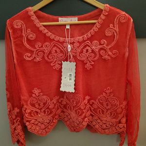 Pretty Angel Top with Decorative Embroidery - Red